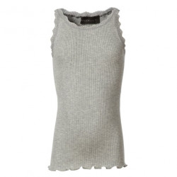 Rosemunde Girls Silk Top w. Lace Grey Melange