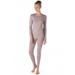 Skiny Shirt Ls Active Wool Women Taupe Melange