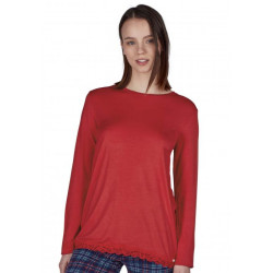 Skiny Shirt Ls Joy Sleep Ribbon Red