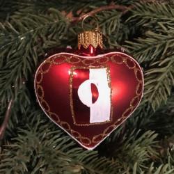 Julekugle - Hjerte m. Grønlandsk Flag 5cm