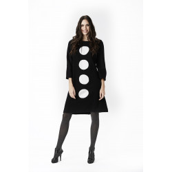 Isaksen Design Laura Dress 100% Pure New Wool Black/white