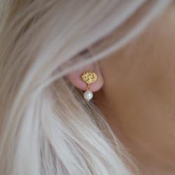 Enamel Earring Pearl Drop Gold