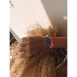 Sorbet Island LOVE SAVES THE DAY Bracelet Thin Satin Neon Orange