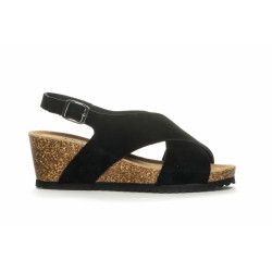 Duffy Sandal 86-35001- Leather Upper + Sock - Black