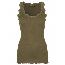 Rosemunde Silk Top 5205-624 w. Lace Military Olive