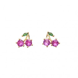 Pico Cherry Crystal Stud Goldplated