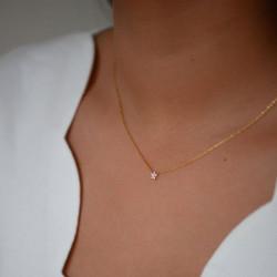 Enamel Necklace Fleur Gold