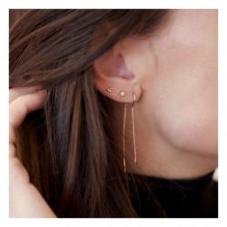 Enamel Hoop Chain Earring Gold