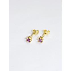 Pico Cecilie Stud Goldplated Purple Opac