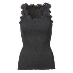 Rosemunde 5205-009 Silk Top w. Vintage Lace Dark Grey Melange
